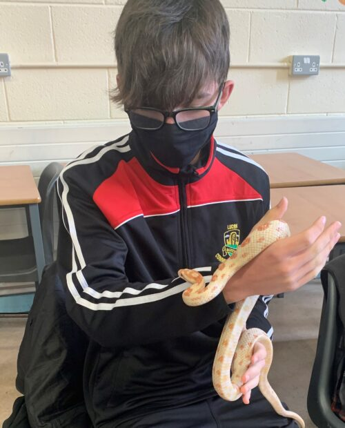 Lucan CC student holding a snake